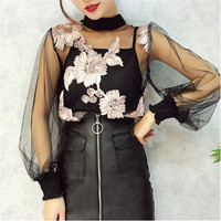 Alphalmoda 3D Flowers Lace Shirt Perspective Gauze Basic Shirt Short Sleeve Top Spaghetti Strap 2pcs