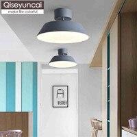 Qiseyuncai Nórdico moderno cor macaron rodada lâmpada do teto foyer quarto corredor corredor corredor iluminação simples frete grátis
