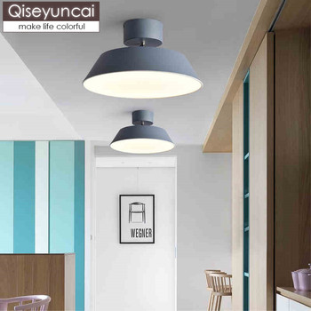 Qiseyuncai Nordic modern color foyer ceiling lamp round macaron bedroom corridor corridor aisle simple lighting free shipping