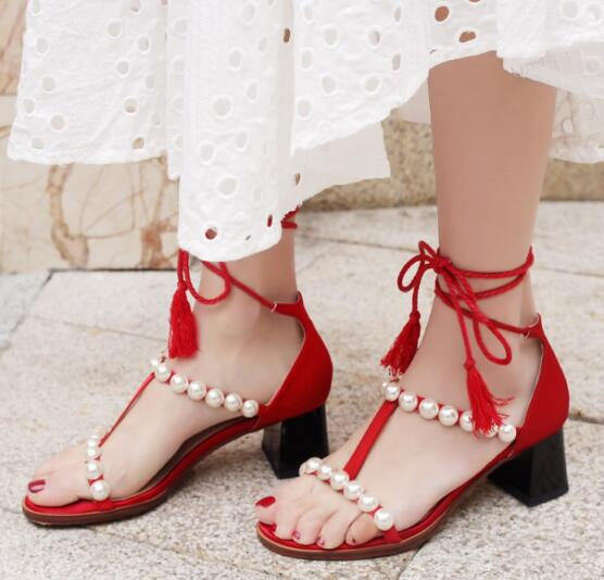 Bohemia Style 2017 Newest Thick Heels Sandal For Woman Summer Sexy open toe pearls bead lace-up sandal t-strap gladiator sandal  2017 newest summer black brown leather sandal for woman sexy open toe flat crystal sandal sequins bead t strap buckle shoes