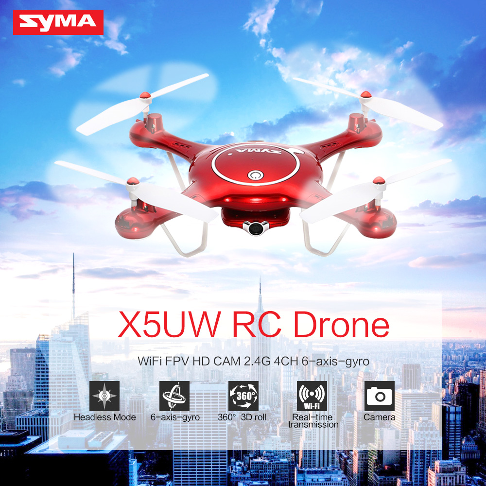 Syma X5UW Drone Dron WiFi Camera HD Camera Real-time Transmission FPV Quadcopter 2.4G 4CH RC Helicopter Racing Quadrocopter rc drone quadcopter x6sw with hd camera 6 axis wifi real time helicopter quad copter toys flying dron vs syma x5sw x705