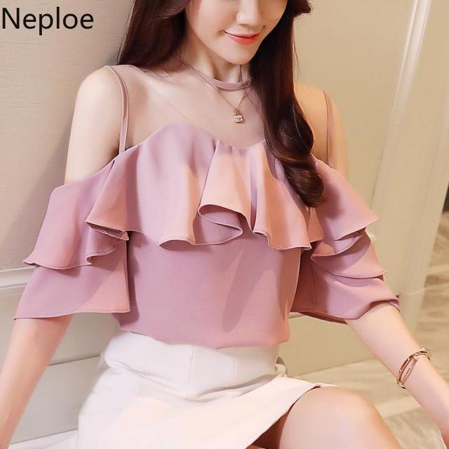 Neploe 2019 נשים כבוי כתף ראפלס נשים חולצות גזה שיפון חולצות לבן ורוד גבירותיי חולצות בגדי נקבה Blusas 39126