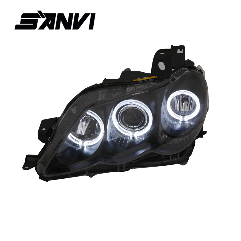 SANVI Headlights For Toyota Mark X with Q5 Projector Lens BMW-Style Engel Eyes Halos Headlamps Assembly For Toyota Reiz Autopart 2013 headlamps for chery qq front headlamps assembly before the lamp lights with bulb