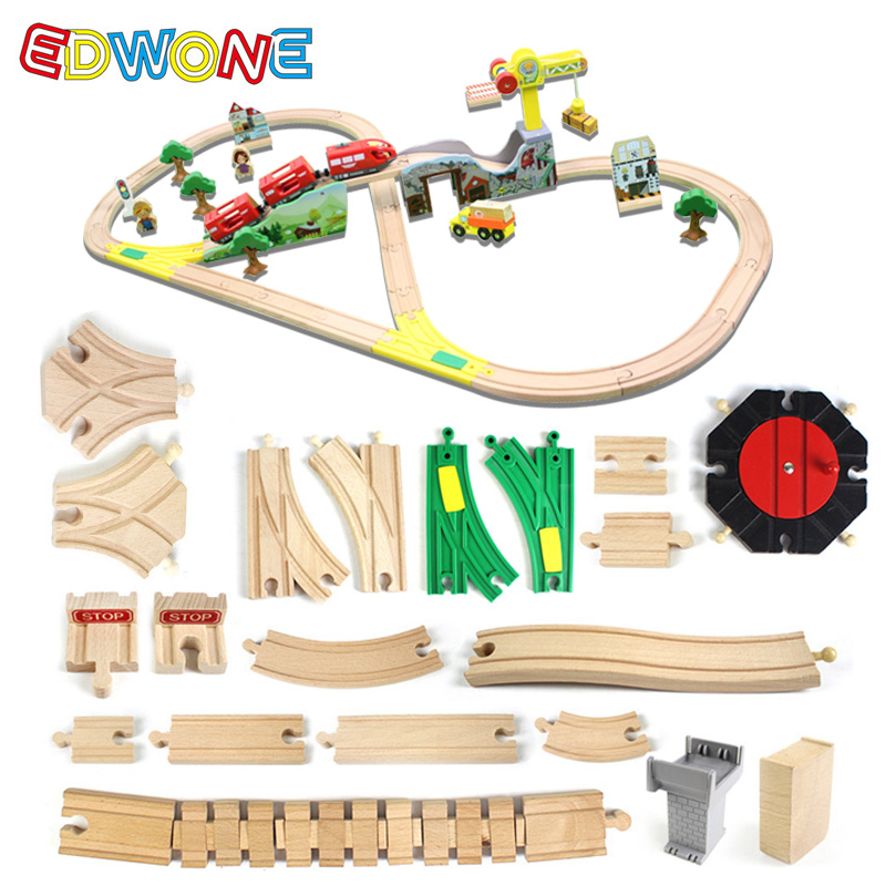 EDWONE Wooden Track Wooden Railway Accessories Train Track Set Train Assembly Children's Toys Christmas Gifts For Kids