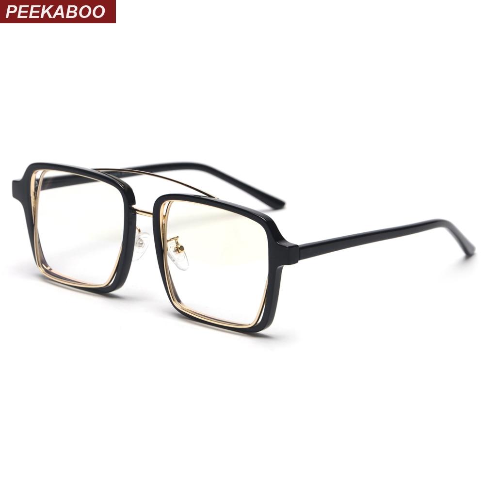 Peekaboo Black Square Frame Glasses For Men Vintage 2019 Clear Lens Transparent Decorative Eyeglasses Frames For Women Trends