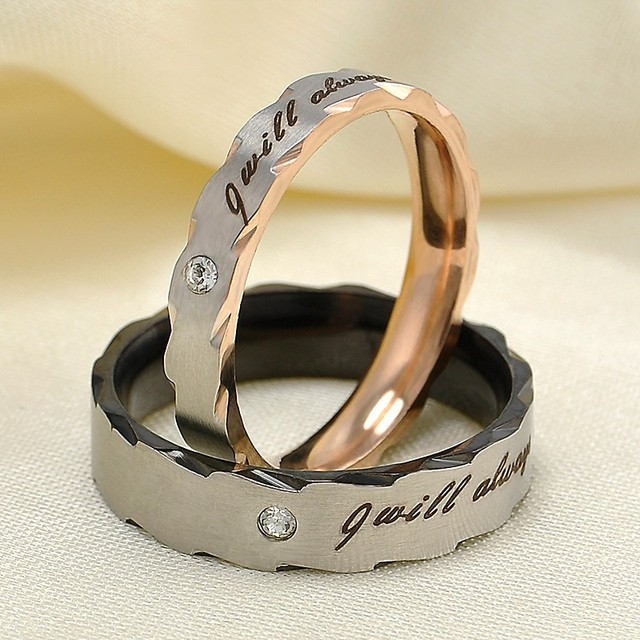"Caxybb Hot selling Romantic lover ""I always with you"" rings classic stainless st"