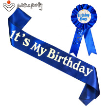 Happy birthday fun gift Birthday girl & boy brooch sash set
