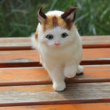 Decoration Prop Simulation Cat Toy Mini Cute Walking Cat about 21*9*15CM