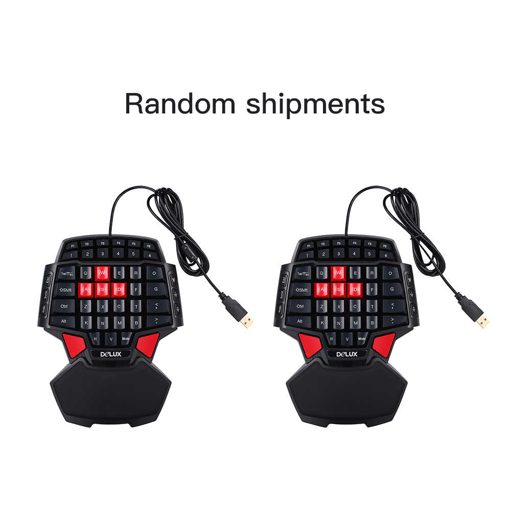 Delux T9 47-Key Gaming Keyboard Professional One/Single Hand USB Wired  Keyboards Esport Gamer Keyboard for lol cs go