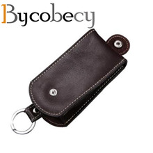 BYCOBECY Genuine Leather Smart Key Holder Car Wallet Organizer Housekeeper Bag Covers Hasp Case