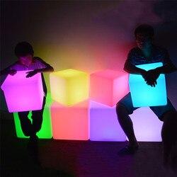 Thrisdar iluminación led exterior muebles cubo taburete silla 30*30*30CM Hotel KTV de mesa de plástico cubo