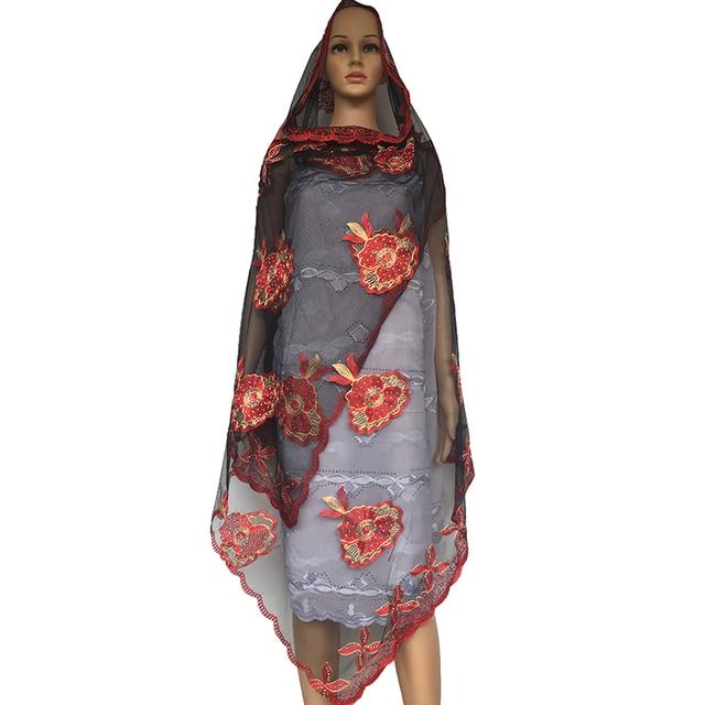 b8ca8af33d3c Le plus récent Africain femmes écharpes, musulman Plaine Broderie net  femmes écharpe, noir rouge