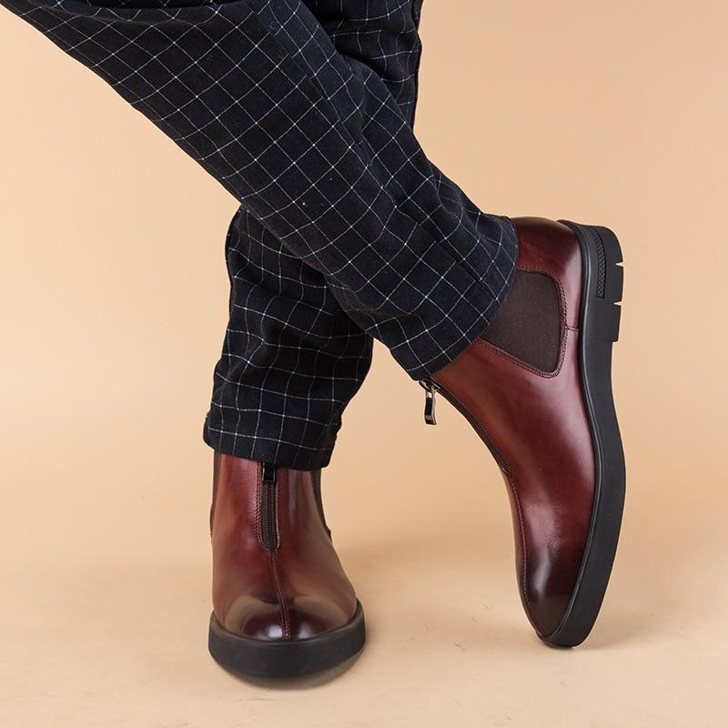new autumn winter British retro fashion professional cow leather boots men euro man winter men 39 s boots breathable male