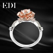 EDI 5 мм натуральный белый топаз Драгоценное кольцо стерлингового серебра 925 пробы Обручение кольцо для Для женщин вырос цветок группы Красивые ювелирные изделия
