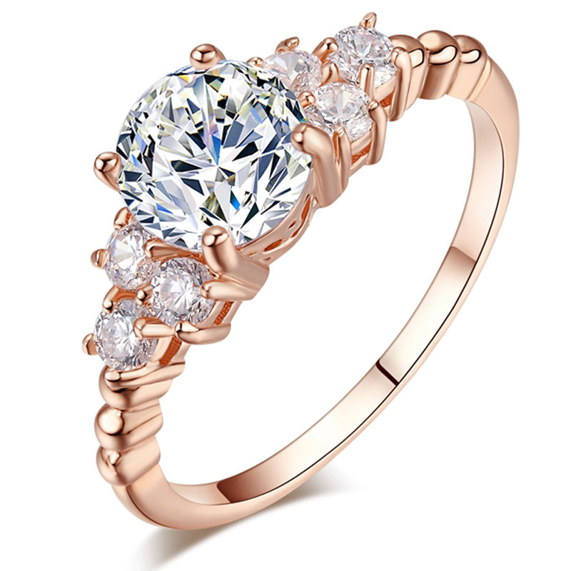 Luxury Rose Gold color ring Cubic Zirconia Wedding Ring Crystal Engagement Zircon CZ Rings for Women Fashion Jewelry