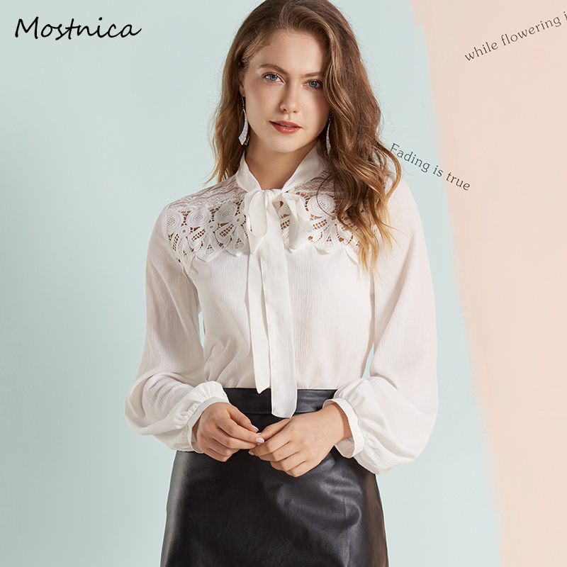 Mostnica Elegant Chiffon OL Woman White   Blouse   Flower Hollow Out Lace Lantern Sleeves Formal Commuter   Shirt   for Office Ladies
