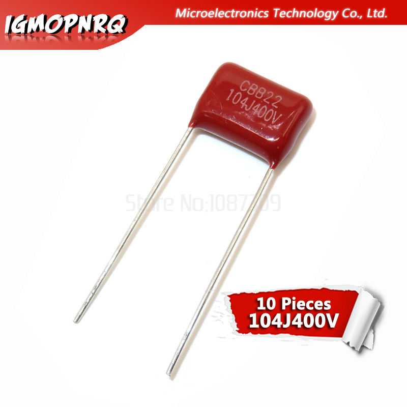 10PCS 400V104J Pitch 10mm 0.1UF 100NF 400V 104 Igmopnrq CBB Polypropylene Film Capacitor New