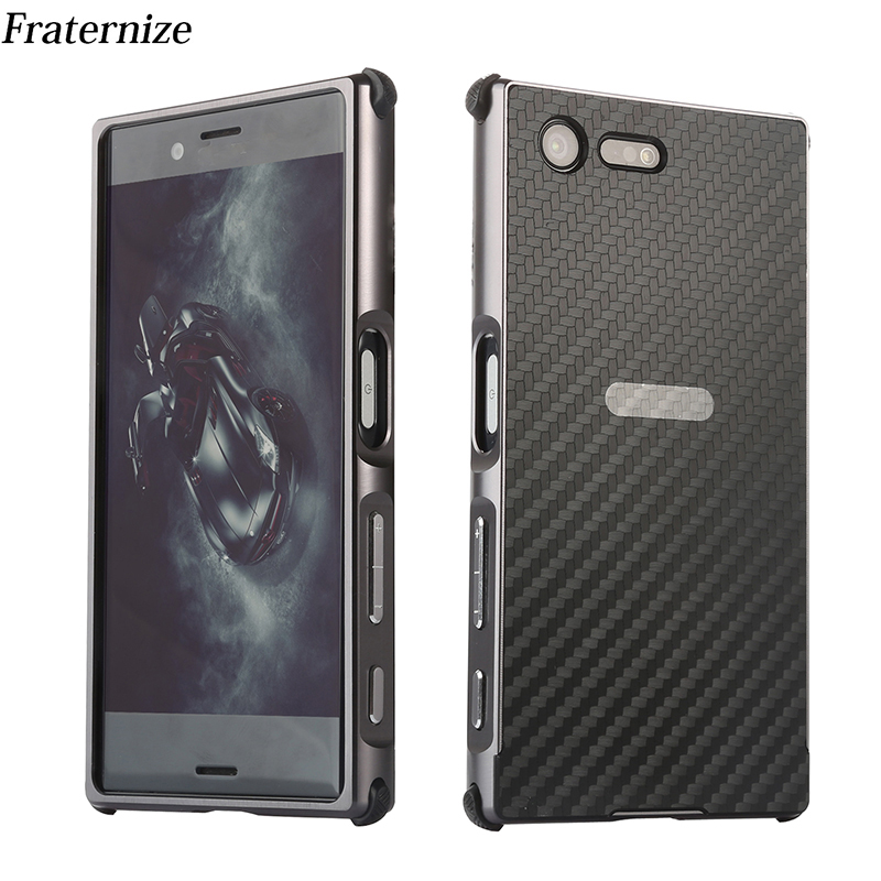 Pour Sony Xperia XZS XZ1 X Compact XA1 Ultra cas En Aluminium pare-chocs En Métal Cadre + fiber de carbone De Couverture pour Xperia XZ Premium Cas