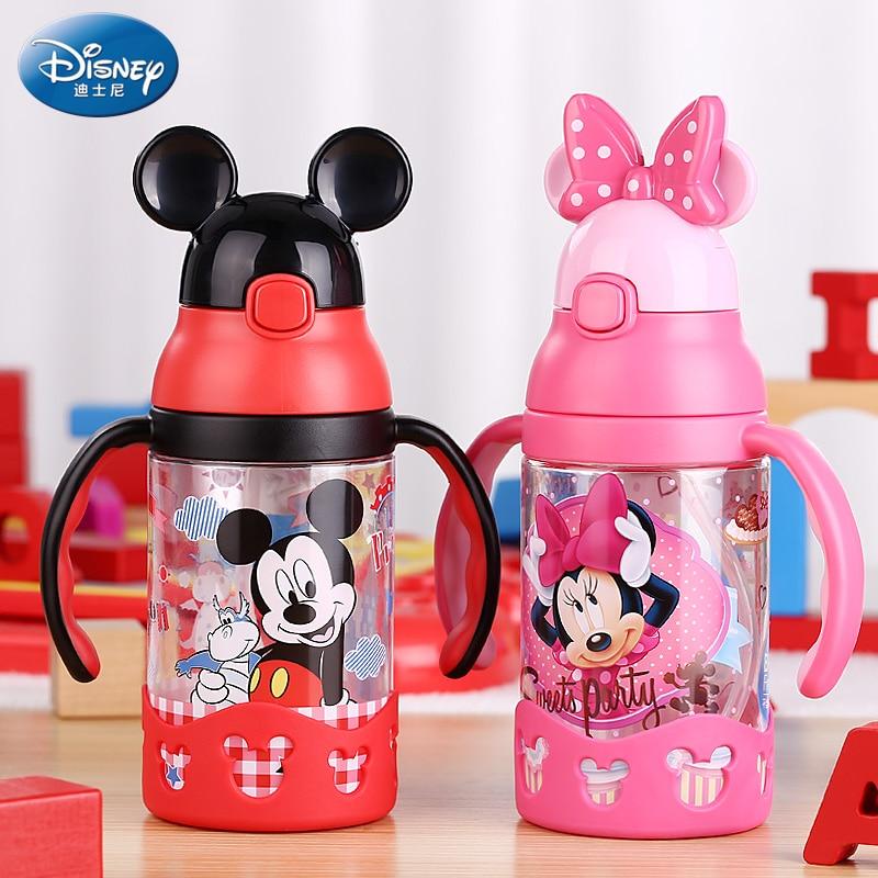 Disney 400ml Plastic Water Bottle with Straw Handle Children s Kettle Leak Proof training Drink Bottle