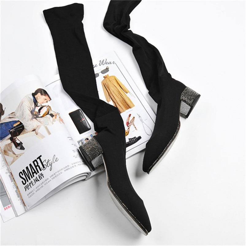 Pour Luchfive Bottes Carré Longues Noir Talon Bottines Femme Avec Genou Tissu Black Du Slim Strass Stretch dessus Mode Chaussette qrnrxwPCF