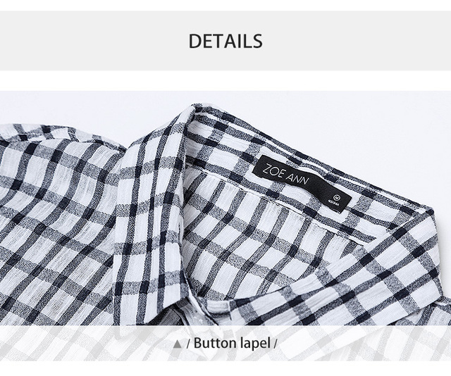 New Plaid Pure Cotton Lapel Button Blouses Slim Long Sleeve Chiffon Casual Shirts