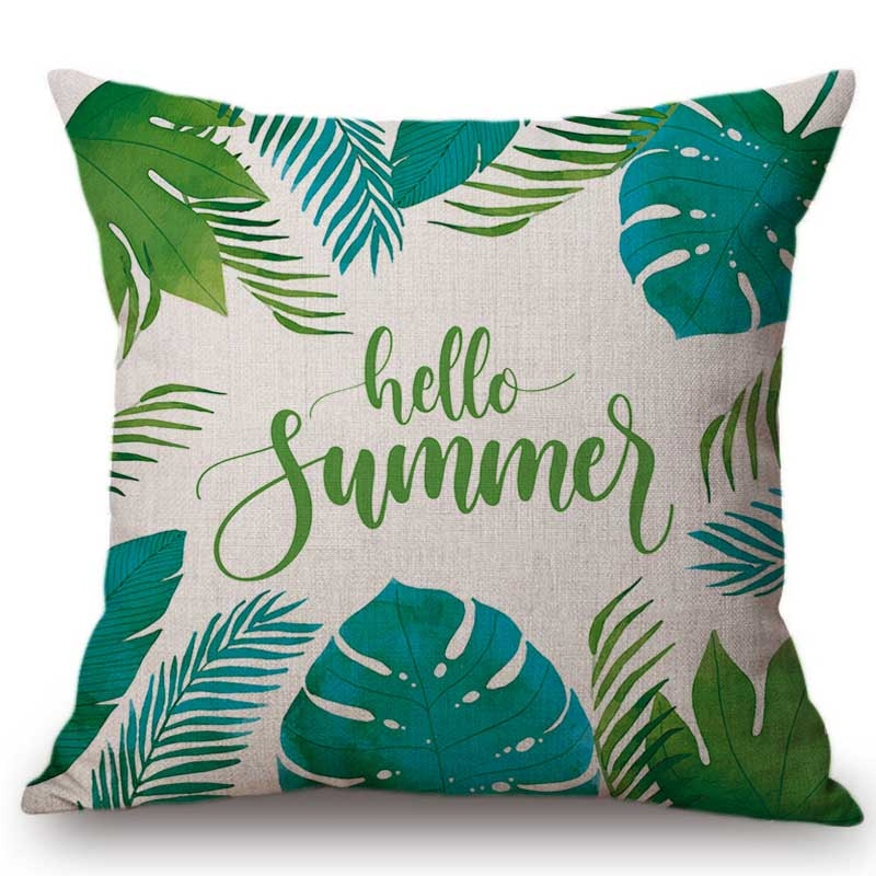 18 Hello Summer Letter Watercolor Tropical Plant Leaf Home Decorative Sofa Throw Pillow Case Green Pastoral Chair Cushion Cover