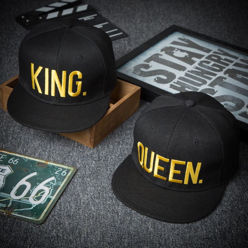Baseball-Hat Spring-Band Embroidery Flat-Cap Couple KING Hip-Hop QUEEN Fashion Men's