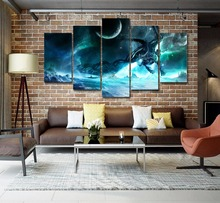 HD Print 5pcs Dragon World Of Warcraft Wrath Of The Lich King canvas painting children kids decor canvas wall art picture PT1661