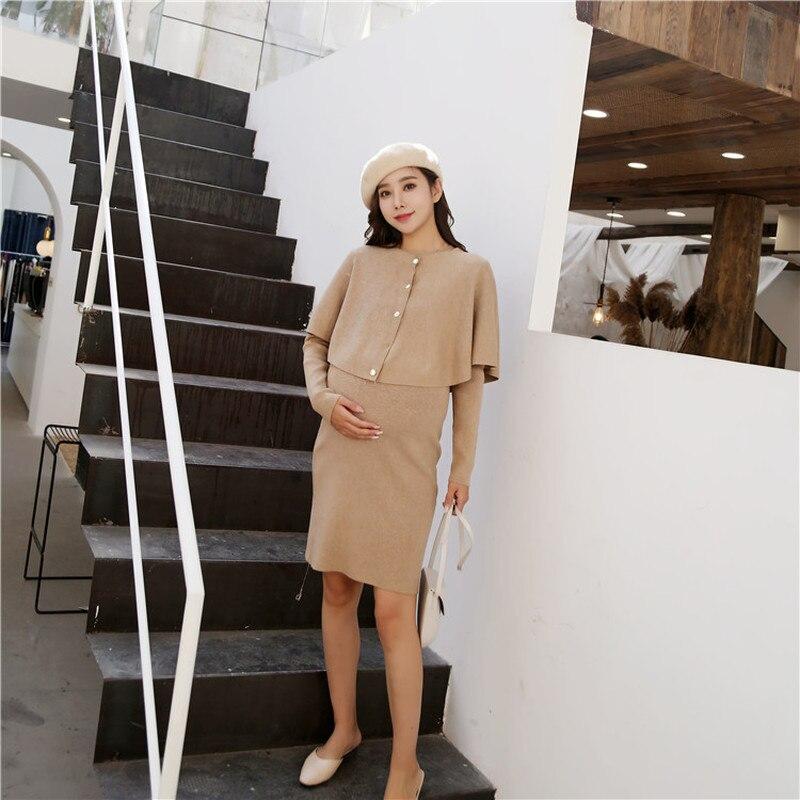 Модная шаль для беременных Платья свитеры для беременных Для женщин зимние вязаные Беременность Комплекты одежды Eelgant Осень Одежда для беременных