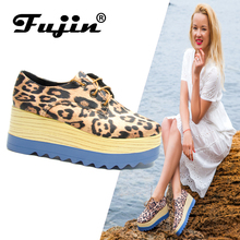 Fujin Female Shoes Platform Women Flats Casual Spring Summer Loafer for female Leopard Print