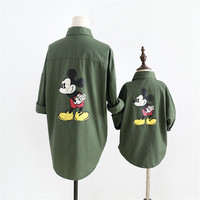 Mother Daughter Clothes High Quality Mouse Cotton Blouses Jacket Family Matching Outerwear Autumn Family Clothes H0311