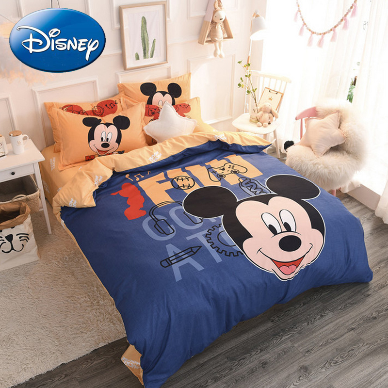 Disney Cartoon Mickey Mouse Duvet Cover Bedding Set 3/4 Pieces Kids Striped Double Children Bedroom Pillow Case Bed Linen Sets 2 0m 4pcs flamingo print striped duvet cover set