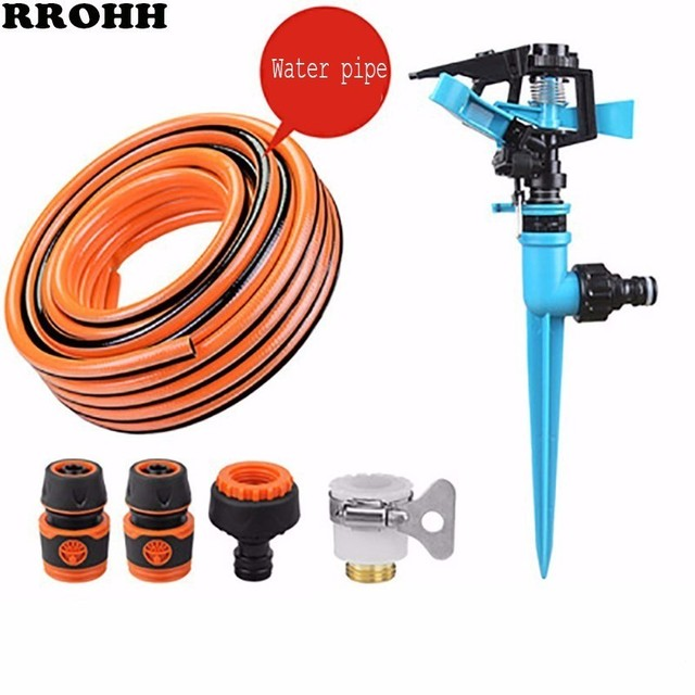Garden Sprinklers Automatic watering Grass Lawn 360 Degree Rotating Water Sprinkler 3 Nozzles with Pipe Hose Irrigation System