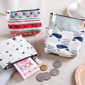 Canvas Purse Card Key Mini Purse Zipper Bag Change Pouch Key Holder Small Mini Storage Case Pouch Money Bags Gift image