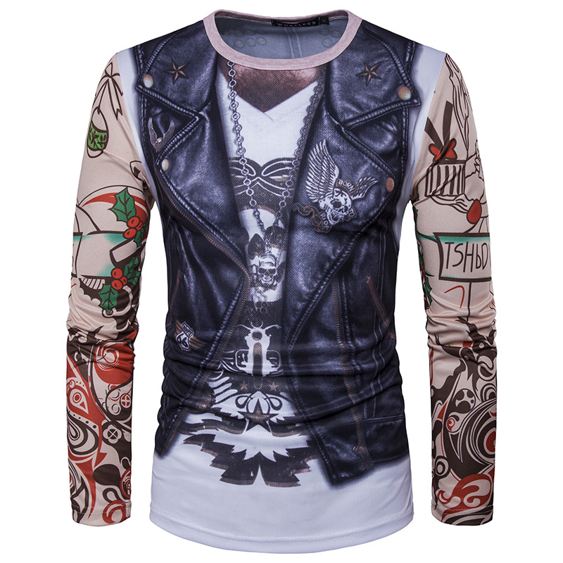 Funny Vest Tattoo 3d Printing   T     Shirt   Men/Women 2017 Brand New Long Sleeve   T     Shirt   Homme Casual Camisetas 3D Print   T  -  shirt   Mens