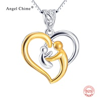 GNX10223 Real 925 Sterling Silver Necklaces Mother Hold Child Love Heart Pendant Necklaces Charming Jewelry For