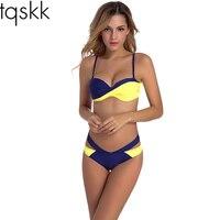 TQSKK Bikinis Women Swimwear 2017 New Sexy Cross Bikini Set Swimsuit Female Retro Summer Beach