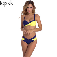 TQSKK Bikinis Women Swimwear 2017 New Sexy Cross Bikini Set Swimsuit Female Retro Summer Beach