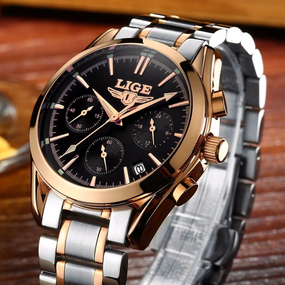 2017 Top Brand Luxury LIGE Quartz Watch Men Steel Fashion Clock Male business casual Waterproof Watches Clock Mens Wristwatches onlyou brand luxury watch men women fashion steel quartz watch wristwatches ladies dress watch male female clock watch 8890