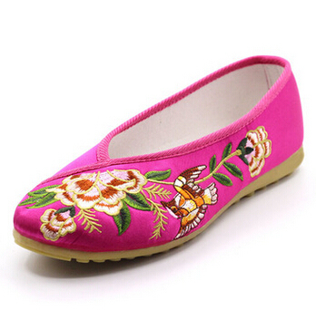 Old peking chinese embroidery flats shoes for women PR1825 cow muscle soles soft comfortable ladies female flat heel shoe spring