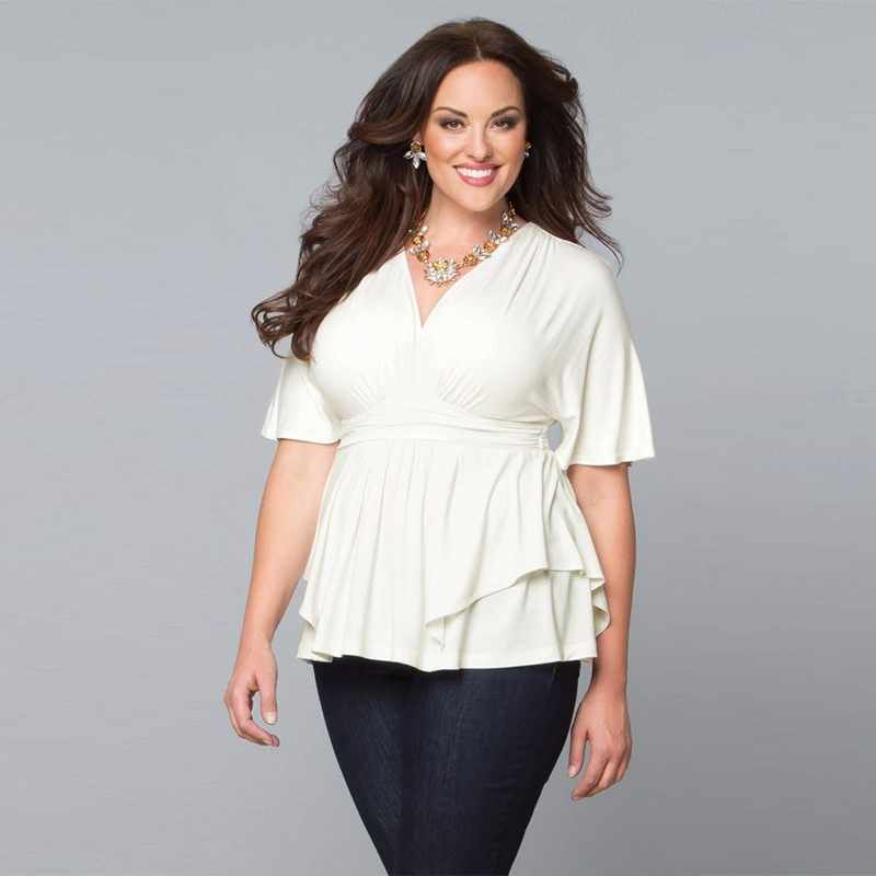 2019 Women Plus Size 6XL Office Tops Fashion Big Size Solid ...