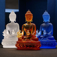 High Grade Glazed Glass Pharmacist Buddha Crystal Crafts Fengshui Ornaments Creative Sculpture Home Decor Statue Gifts