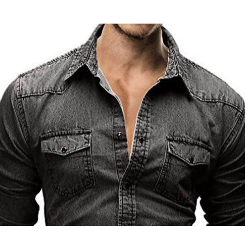Men Shirt Brand 2018 Retro Style Male Long Sleeve Shirts Casual Solid Color Denim Slim Fit Dress Shirts Mens 3XL in Casual Shirts from Men 39 s Clothing