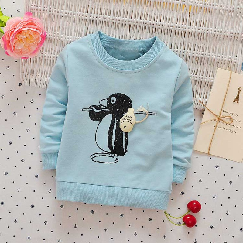 Autumn spring Children clothing girls boys baby's Cartoon Penguin print o-neck long sleeve t-shirt Y2468