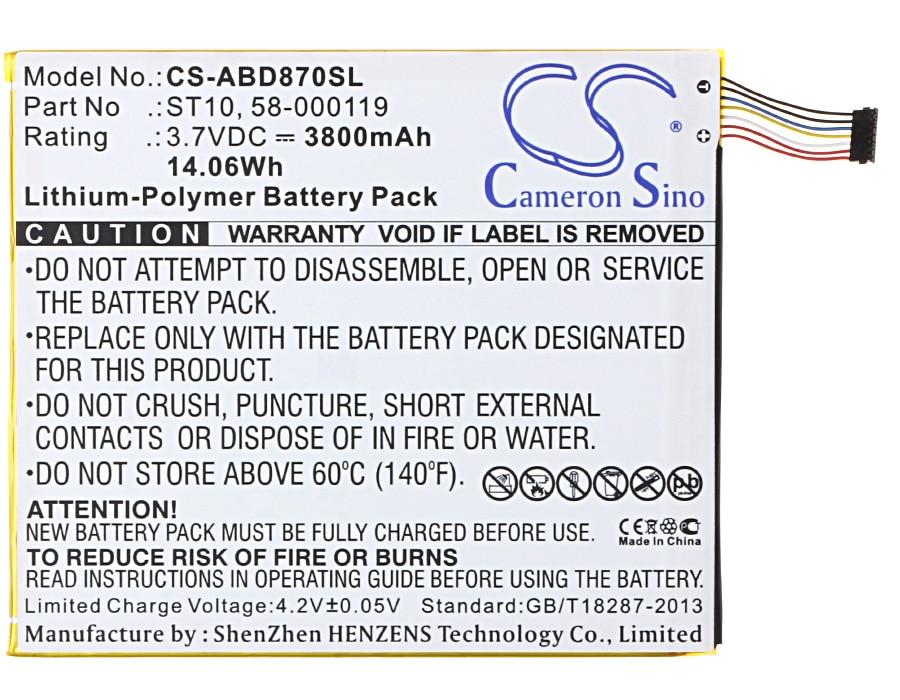 Cameron Sino 3800mAh Battery 58-000119, ST10,ST10A for Amazon B00VKIY9RG, Kindle Fire HD 10, Kindle Fire HD 10.1, SR87CV, SR87MC