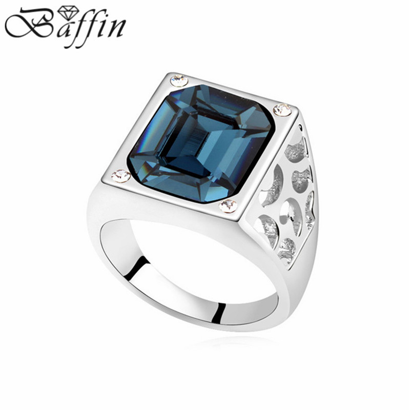 3170c5da1a733 US $7.67 21% OFF|Original made with Swarovski Elements Big Crystal Cubic  Rings for Men Women Square Bague Fine Jewelry-in Rings from Jewelry & ...