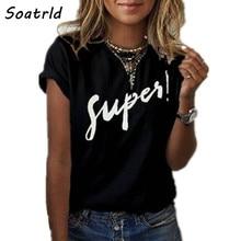 Camiseta super estampada feminina, gola redonda, manga curta para verão