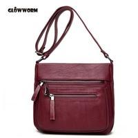 2017 Women Messenger Shoulder Bag Vintage High Quality Crossbody Bags Casual Solid Zipper 4 Colors Fashion