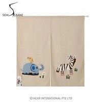 SewCrane Honeycomb Fabric Curtain Embroidery Design Elephant Zebra Home Restaurant Door Curtain Noren Doorway Room Divider