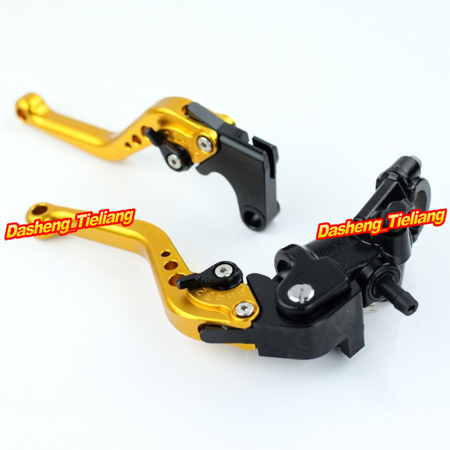 Adjustable Motorcycle Brake Clutch Levers w/ Adapter For Yamaha YZF R1 2004-2013 & YZF R6 2006-2013 Gold High Quality with logo yzf r1 black titanium adjustable folding motorcycle brake clutch levers for yamaha yzf r1 2004 2005 2006 2007 2008